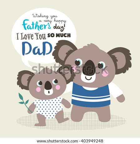Fathers day greeting card little koala stock vector royalty free fathers day greeting card with little koala bear and father m4hsunfo