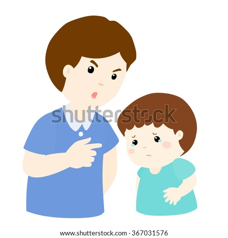 Father scolds his son on white background cartoon vector illustration - stock vector