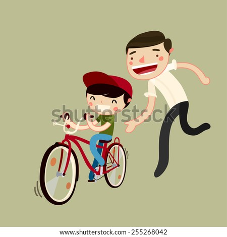father teaches son to ride a bike. kid learns to ride bicycle. vector illustration - stock vector