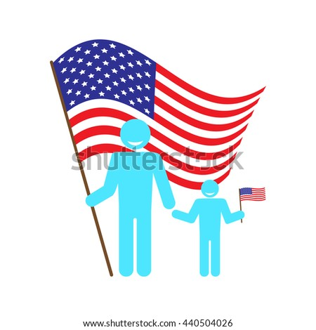 Father with baby on a background of the American flag. Figure man and child with the US flag. Icon to celebrate Flag Day, Independence Day July 4, Father's Day. Vector - stock vector