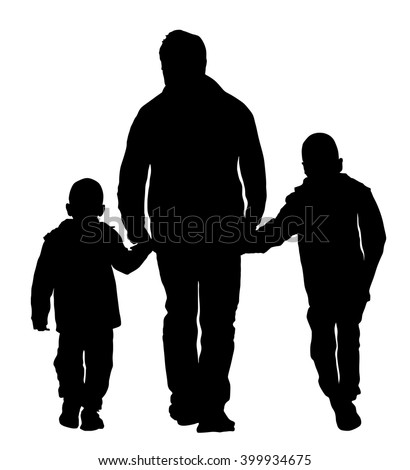 father with kids vector silhouette illustration isolated on white background dad and two sons walking