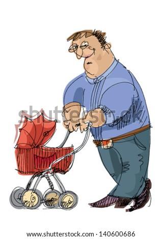 father with pram - cartoon - stock vector