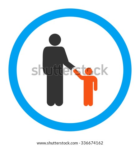 Father With Son vector icon. Style is flat rounded symbol, bright colors, rounded angles, white background.