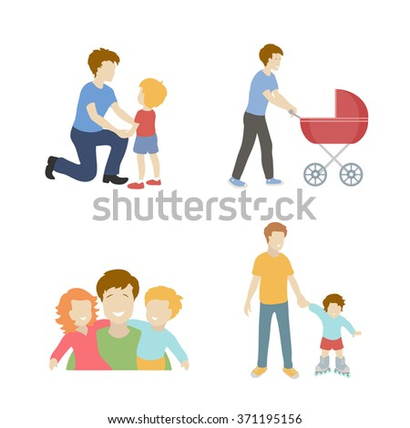 Fatherhood  color flat icons set father playing with children   illustration. - stock vector
