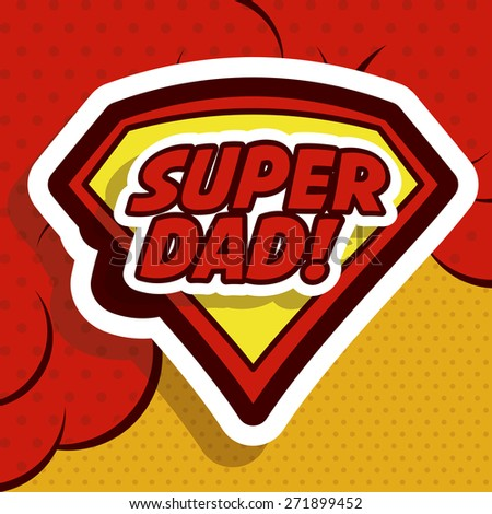 Fathers day design over red background, vector illustration - stock vector