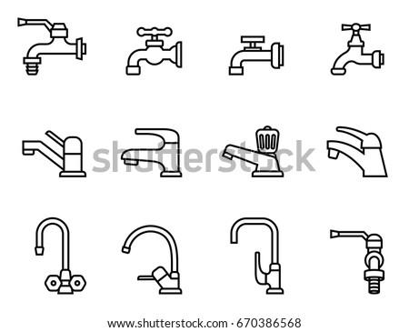 Bathroom Sign Vector Style faucet vector icon tap sign bathroom stock vector 670386568