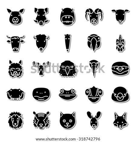 Fauna icon set - stock vector