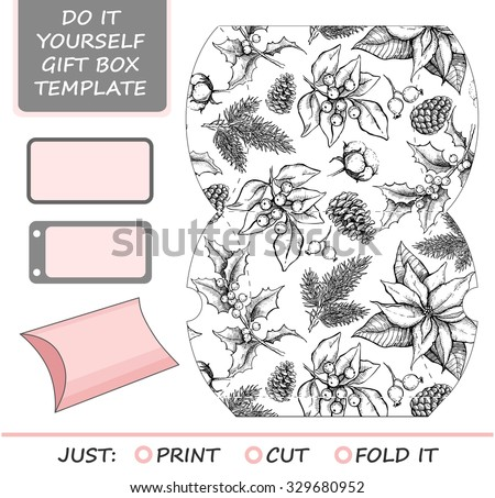 Favor, gift box die cut. Box template with winter floral pattern. For Christmas and New Year gift packaging. - stock vector