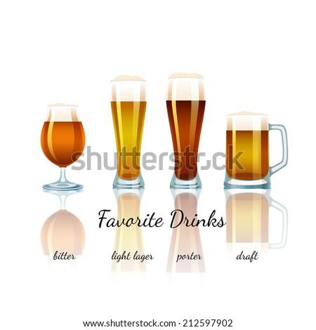 Favorite Beer Set isolated. Bitter, Light Lager, Porter and Draft - stock vector
