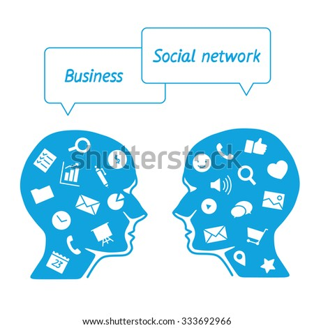 Favorite of software workers in the form icons - head it specialist in profile - the digital tools employees - the business analyst vs. the marketer social media - stock vector