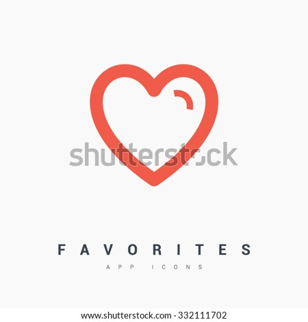 Favorites, heart. Isolated minimal icon in black and white colors. Line vector icon for websites and mobile minimalistic flat design. Collection modern trend concept design style illustration symbol - stock vector