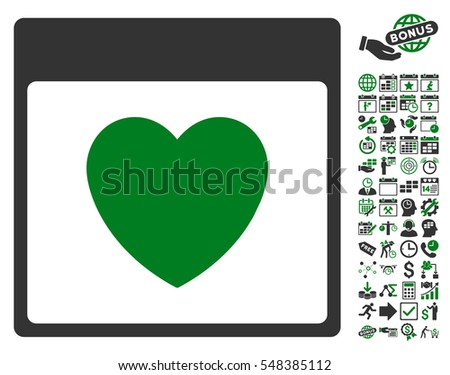 Favourite Heart Calendar Page icon with bonus calendar and time management clip art. Vector illustration style is flat iconic symbols, green and gray, white background.