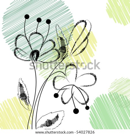 Fawn with handwritten flowers. Vector 10 eps. - stock vector