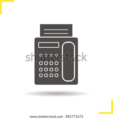Fax icon. Drop shadow fax phone icon. Office fax machine equipment. Faxing communication device. Isolated fax phone black illustration. Fax logo concept. Vector silhouette fax machine symbol - stock vector
