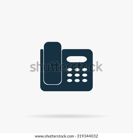 Fax machine. Flat vector web icon or sign on grey background with shadow. Collection modern trend concept design style illustration symbol - stock vector