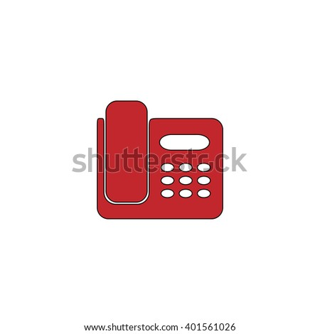 Fax machine. Red flat simple modern illustration icon with stroke. Collection concept vector pictogram for infographic project and logo - stock vector