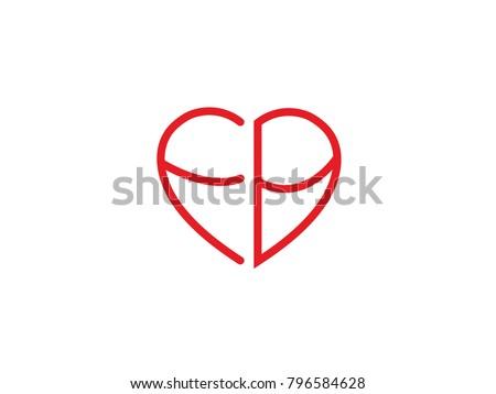 Fb Initial Logo Letter Heart Shape Stock Vector 796584628 Shutterstock