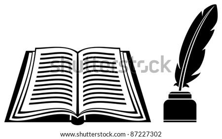 feather and book - stock vector
