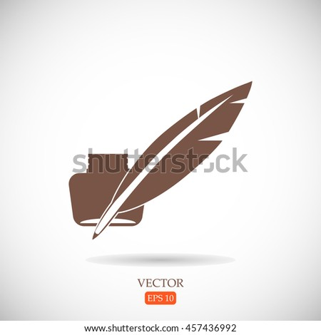 feather and ink bottle icon - stock vector