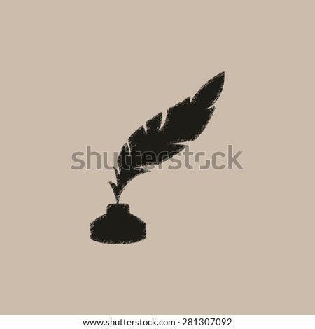 feather and ink bottle - vector icon - stock vector