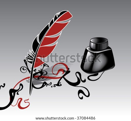 Feather and ink on a gradient - stock vector