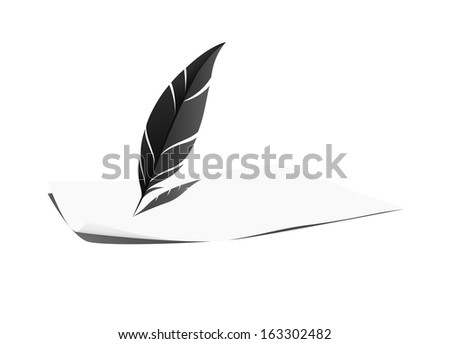Feather and paper - stock vector