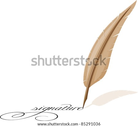 feather and signature vector illustration - stock vector