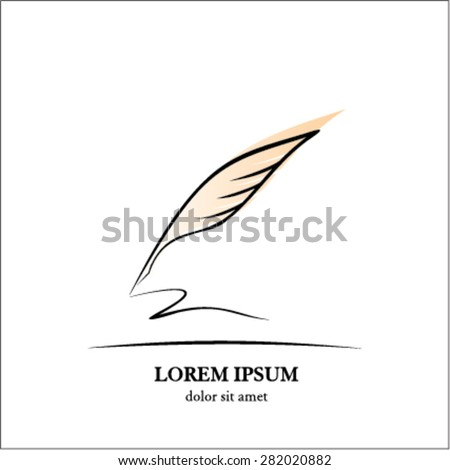 Feather calligraphy pen - stock vector