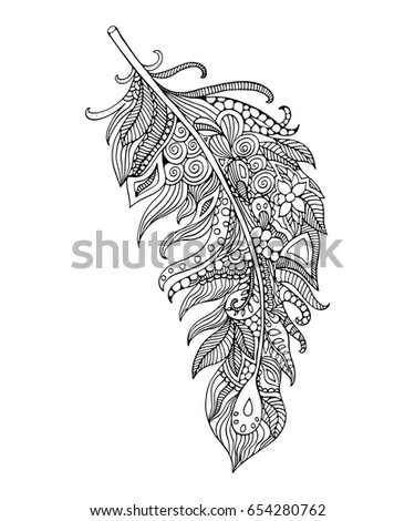 Feather Coloring Page Handdrawing Feather Stock Photo Photo Vector