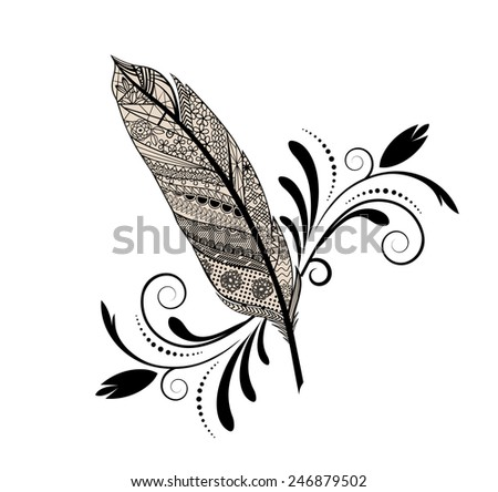 Feather flourish decal isolated  - stock vector