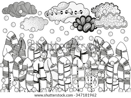 Feather forest, artistically clouds, winter illustration, snowing. Vector, hand-drawn, ethnic, floral, doodle, zentangle, tribal design elements. Pattern for coloring book. Made by trace from sketch. - stock vector