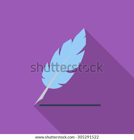 Feather icon. Flat vector related icon with long shadow for web and mobile applications. It can be used as - logo, pictogram, icon, infographic element. Vector Illustration. - stock vector