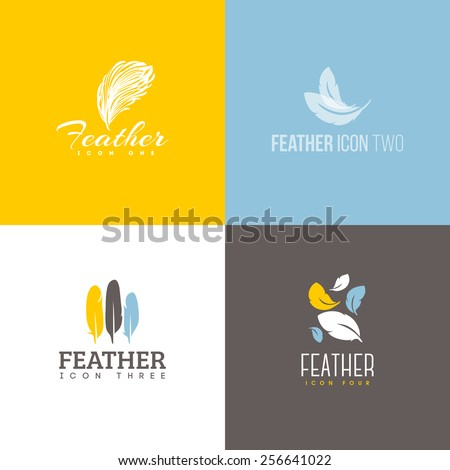 Feather icon. Set of logo design vector templates - stock vector