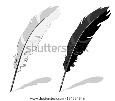Feather pen, black and white composition with shadow - stock vector