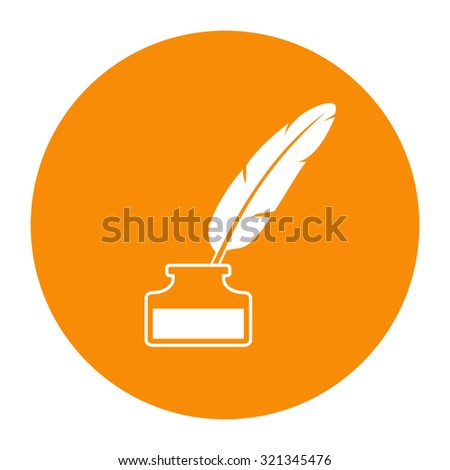 Feather pen in inkwell icon. - stock vector