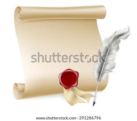Feather quill pen and and paper scroll with red seal - stock vector