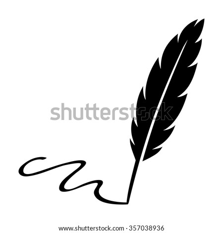Feather quill pen signing signature flat icon for apps and websites - stock vector