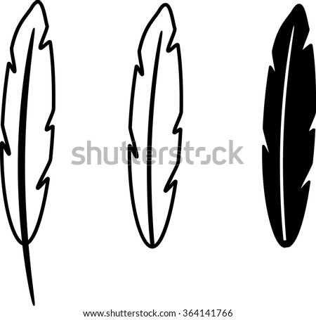 feather set outline isolated illustration - stock vector