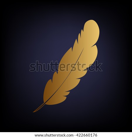 Feather sign. Golden style icon - stock vector