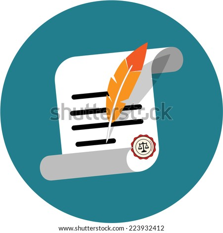 Feather signing a  Document - stock vector