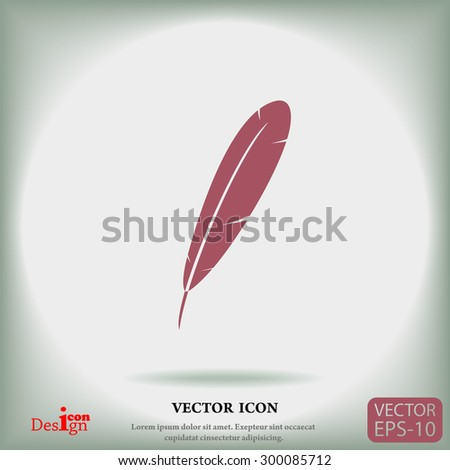 feather vector icon - stock vector