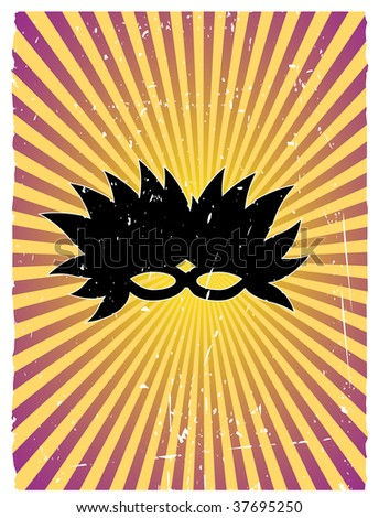 Feathered Mask Silhouette Vector Grunge Background - stock vector