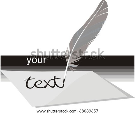 feathers inking - stock vector