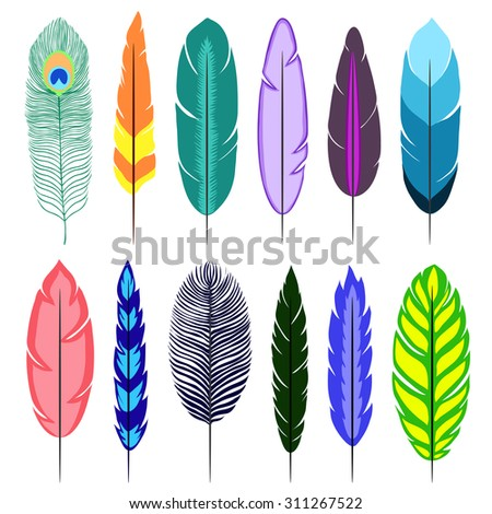 Feathers. Isolated icons on white background. Vector illustration. - stock vector