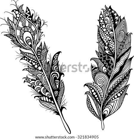 Feathers Tattoo Template Trendy Hand Drawn Vector 321834905 – Tattoo Template