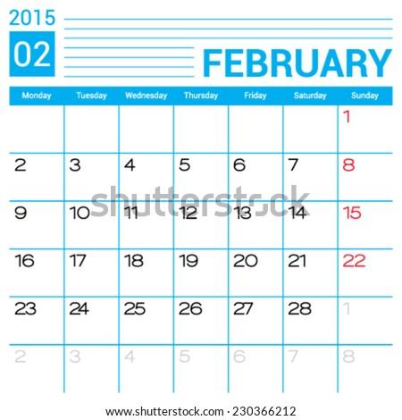 February 2015 Calendar Vector Design Template Stock Vector 230366212