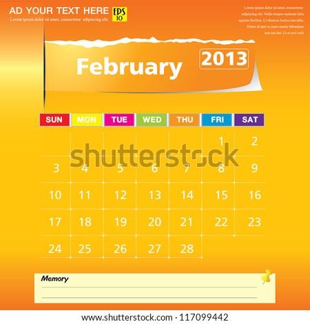 February 2013 calendar vector illustration - stock vector
