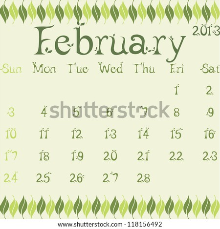 February 2013 calendar vector illustration template leaves design