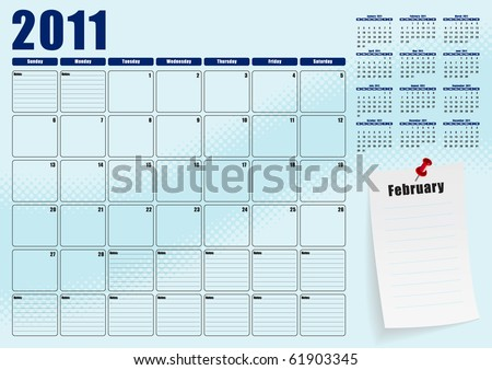 February desk planner for 2011 - stock vector