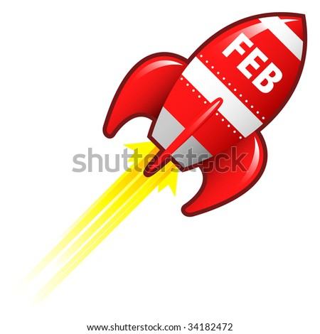 February month calendar icon on red retro rocket ship illustration good for use as a button, in print materials, or in advertisements.